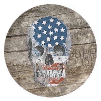 vintage american flag skull plate