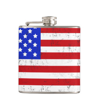 Vintage American Flag Vinyl Wrapped Flask