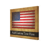 Vintage American Flag w/Custom Text Gallery Wrapped Canvas