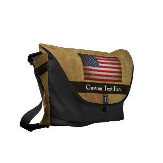 Vintage American Flag w/Custom Text Commuter Bags
