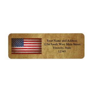 Vintage American Flag w/Custom Text Return Address Label