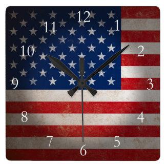 Vintage American Flag w/Custom Text Wall Clocks