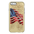 Vintage American Flag with Gold Glitter Fireworks Incipio Feather® Shine iPhone 6 Case