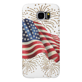 Vintage American Flag with Gold Glitter Fireworks Samsung Galaxy S6 Cases