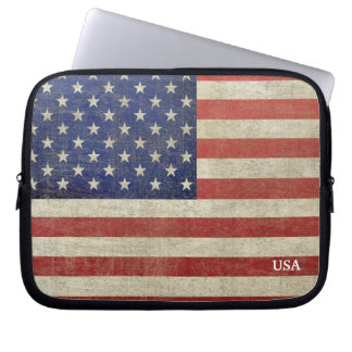 Vintage American Flag with Monogram Laptop Sleeves