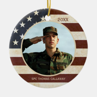 Vintage American Flag with One Photo Christmas Ornament
