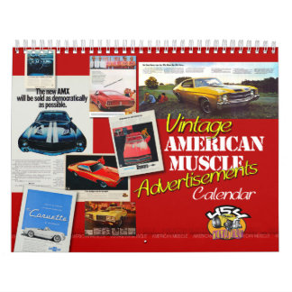 Vintage American Muscle Advertisements Calend Wall Calendars