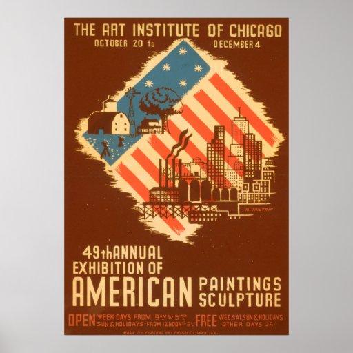 Vintage American Paintings Poster