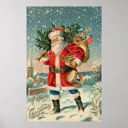 Vintage American Patriot Santa Poster