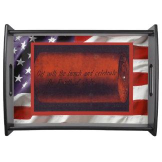 Vintage  American Patriotic, 4th July Firecrackers Serving Platter