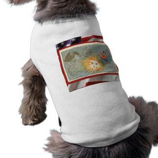 Vintage  American Patriotic, 4th July Firecrackers Sleeveless Dog Shirt