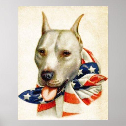 Vintage American Patriotic Pit Bull Dog War Poster