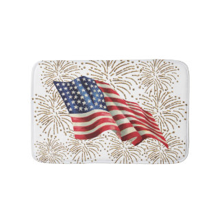 Vintage American USA Flag and July 4th Fireworks Bath Mat