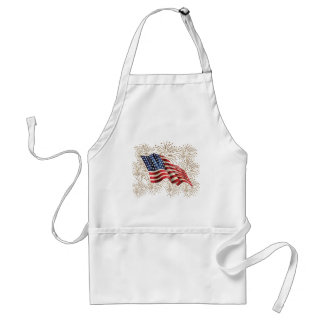 Vintage American USA Flag and July 4th Fireworks Standard Apron