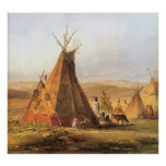 Vintage American West, Teepees on Plain by Bodmer Poster