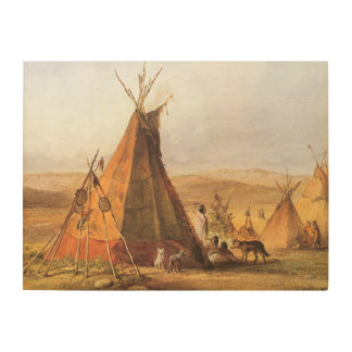 Vintage American West, Teepees on Plain by Bodmer Wood Wall Decor