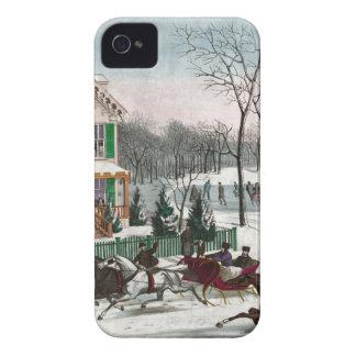 Vintage American Winter Scene iPhone 4 Covers