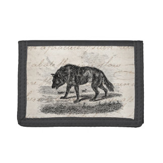 Vintage American Wolf 1800s Wolves Illustration Tri-fold Wallets