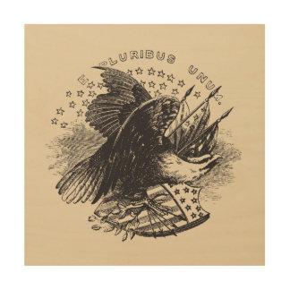 Vintage Americana Woodcut Style Eagle Plaque Wood Wall Decor