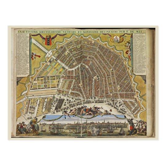 Vintage Amsterdam map Postcard