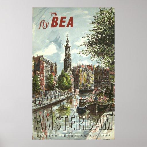 Vintage Amsterdam Travel Poster