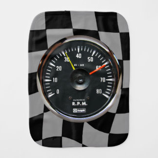 Vintage Analog Auto Tachometer Baby Burp Cloth