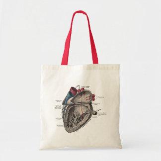 Vintage Anatomical Heart Diagram Budget Tote Bag