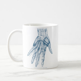 Vintage Anatomy Art Muscles of the Hand Blue Coffee Mug