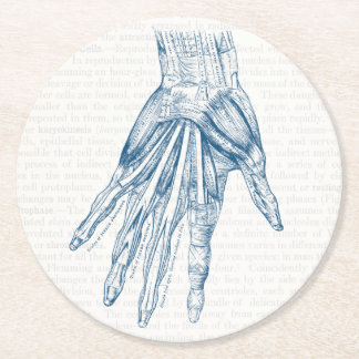 Vintage Anatomy Art Muscles of the Hand Blue Round Paper Coaster