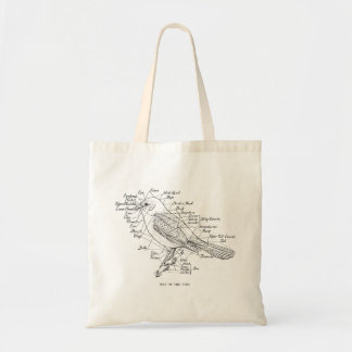 Vintage Anatomy Of A Bird Illustration Tote Bag