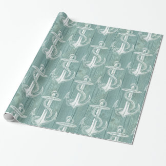 Vintage Anchor Aqua Wood Wrapping Paper