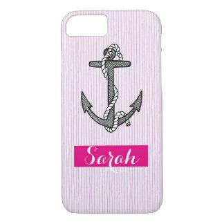 Vintage anchor nautical Pink stripe custom name iPhone 7 Case
