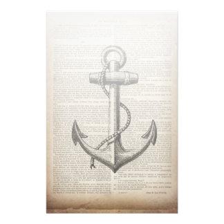 vintage anchor ocean map beach fashion nautical stationery