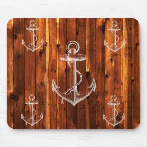 Vintage Anchor on Dark Wood Boards Mouse Pads