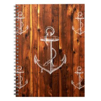Vintage Anchor on Dark Wood Boards Notebooks