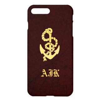 Vintage Anchor on Faux Scratched Leather Nautical iPhone 8 Plus/7 Plus Case
