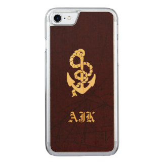 Vintage Anchor on Scratched Leather Nautical Look Carved iPhone 8/7 Case