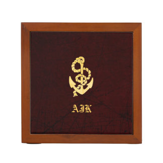 Vintage Anchor on Scratched Leather Nautical Look Desk Organiser