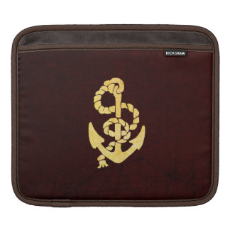 Vintage Anchor on Scratched Leather Nautical Look iPad Sleeve