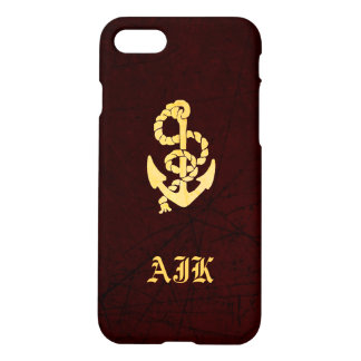 Vintage Anchor on Scratched Leather Nautical Look iPhone 8/7 Case