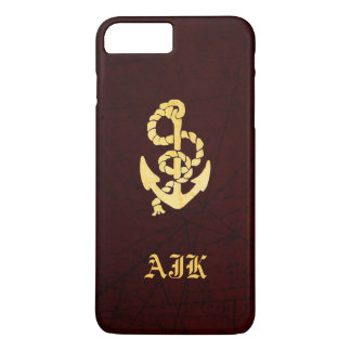 Vintage Anchor on Scratched Leather Nautical Look iPhone 8 Plus/7 Plus Case
