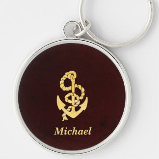 Vintage Anchor Scratched Leather Nautical Name Silver-Colored Round Key Ring