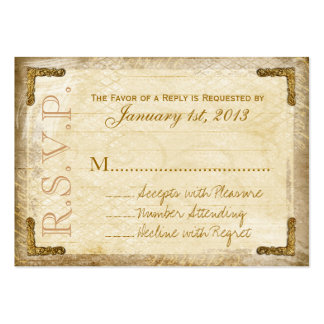 Vintage and Gold RSVP Cards (Chunky Business Card) Pack Of Chubby Business Cards