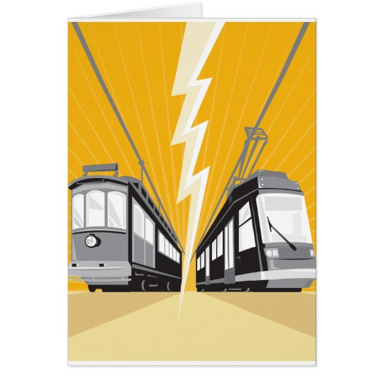 Vintage and Modern Streetcar Tram Train Card
