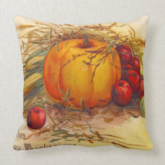 Vintage and Rustic Harvest and Happy Thanksgiving Cushion