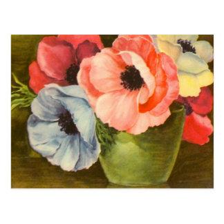 Vintage Anemones in Green Vase Postcard