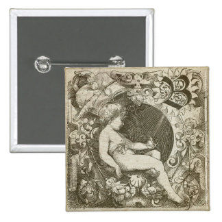 Vintage Angel 15 Cm Square Badge