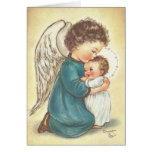 Vintage Angel And Baby Jesus Christmas Card
