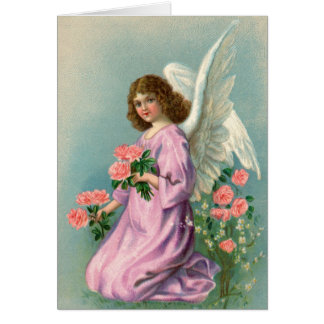 Vintage Angel and Roses Greeting Card