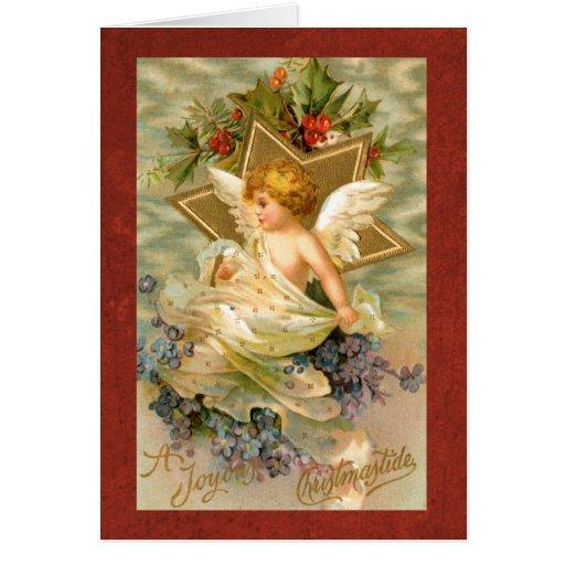 Vintage angel and star christmas holiday card